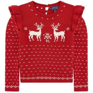 Ralph Lauren Fancy sweater Red Thick knit  SZ 3T